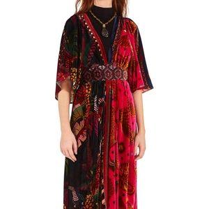 NWT FARM Rio Mixed Scarves Printed Velvet Dress